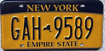 """FREE UK POSTAGE New York Empire State """"Gold"""" USA License Number Plate GAH 9589"""