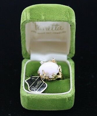 NOS Signed PANETTA Gold o/ Sterling Silver Angel Skin Coral Ring TAG BOX Sz5 BVC