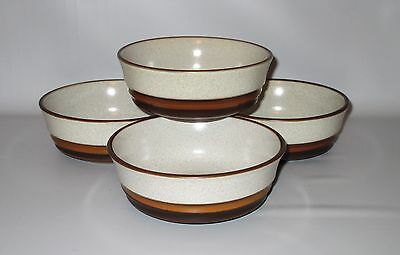 "Denby Potters Wheel 4 Cereal Bowls Speckled Brown Rust 5 7/8"" England"