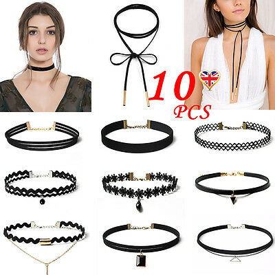 Fashion Women Choker Necklace Set Velvet Classic Gothic Tattoo Lace Retro Black