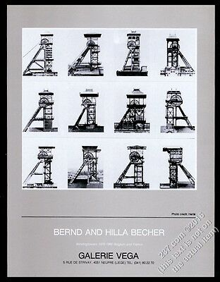 1983 Bernd and Hilla Becher 12 photo Liege gallery show vintage print ad