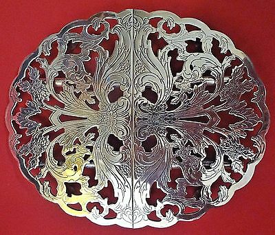 Beautiful Vintage LUNT SILVER PLATE, SILVERPLATE Scroll Design EXPANDABLE TRIVET