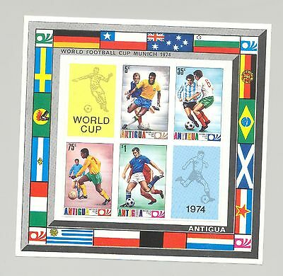Antigua #348a 1974 Soccer Cup 1v. imperf proof of s/s