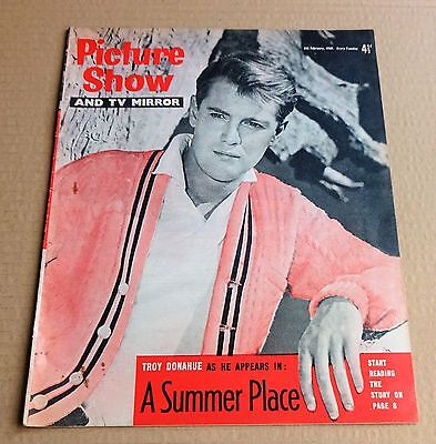 """PICTURE SHOW  MAGAZINE  FEBRUARY 4th 1960   """"TROY DONAHUE  /  DONALD PLEASENCE"""""""