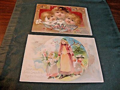 2 Victorian Trade Cards For Woolson Spice Co Advertising Lion Coffee