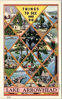 LAKE ARROWHEAD, California  CA  Multi View  THINGS TO SEE and DO 1940s Postcard