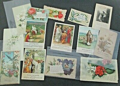ANTIQUE BIBLE SCRIPTURE Cards Lot Vintage Victorian Floral Flowers