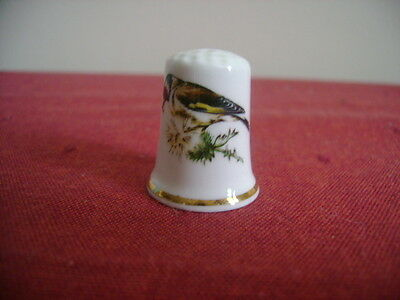 British Made China Thimble With  Bird Pecking A Dandelion