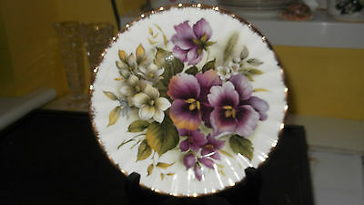 Small Decorative Plate With A Purple Pansy Pattern  Made In England