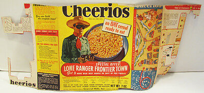 Cheerios 1948 Lone Ranger Frontier Town Partial Original Cereal Box Panels