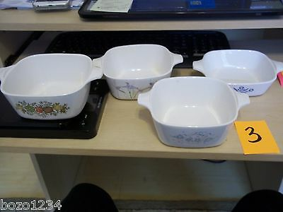 4 Corning Ware Petite Pan Casserole Dishes Asst Patterns P-41 P-43B No Lids L@@K