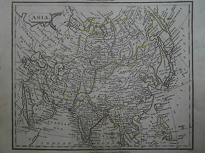 1825 Russia China Tibet India Arabia Japan, Antique Map, Handcolored Outlines