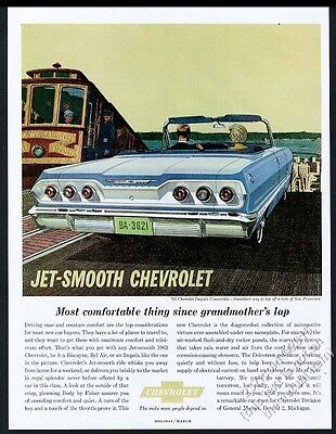 1963 Chevrolet Impala convertible blue car San Francisco art vintage print ad