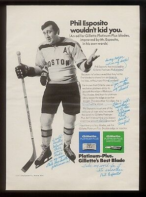 1971 Phil Esposito photo Gillette shaving blade vintage print ad