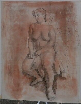 Nude Sitting with Plant-Pink Oil Crayon & Ink 24 x 19 Drawing-1977-August Mosca