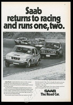 1976 Saab race cae photo vintage print ad