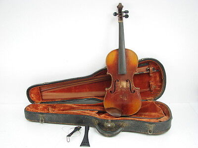 Vtg Early Brown Wooden Violin Stainer + Bow Leather Carrying Case Project Piece