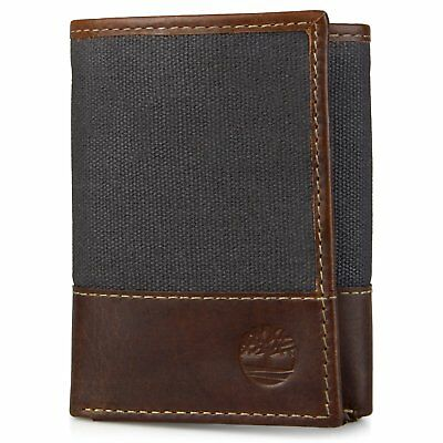 Timberland Men's Baseline Canvas and Genuine Leather Trifold Wallet