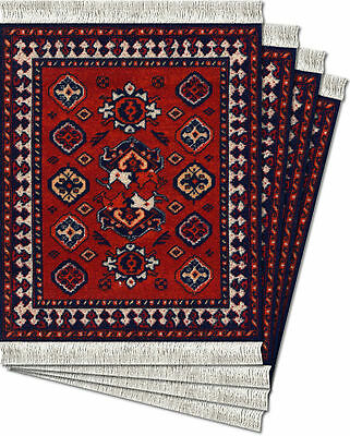 Early Turkmen Licensed From de Young Museum  4-pc Coaster Rug Set coasters