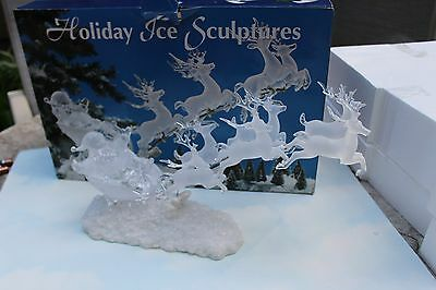 Holiday Ice Sculpture Santa's Sleigh with Reindeer Lights Up Heritage Mint NIB