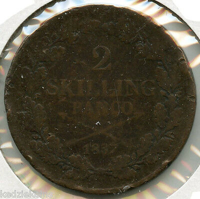 Sweden 1837 Coin - 2 Skilling Banco - Carl XIV - Swedish - KQ15