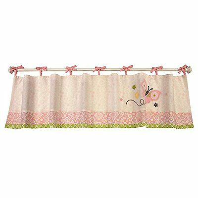 New NoJo Pink BUTTERFLY LOVE Embroidered Window Valance Tie Top Floral