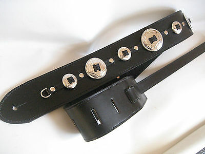 Unique Black Leather  With Silver Concho Bass/ Guitar Strap