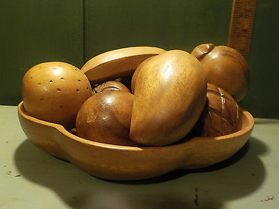 Vintage Genuine Monkey Pod bowl with Fruit & Vegetables-12 pieces Very Nice!