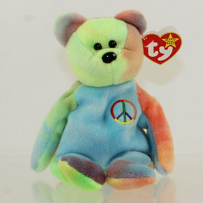 TY Beanie Baby - PEACE the Ty-Dyed Bear (Blue Colors) (8.5 inch) MWMTs