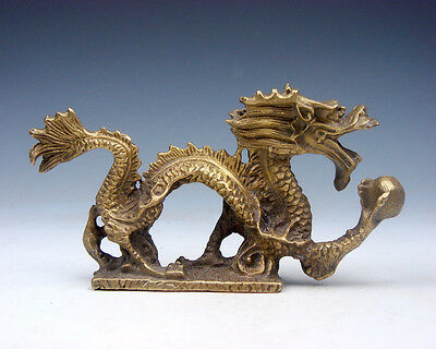 Solid Brass Crafted Sculpture Furious Curly Dragon Grabbing Pearl Ball #02201705