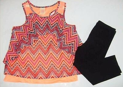 FADED GLORY ON Girls size 10/12 ARTEZ TANK TOP CAPRI'S OUTFIT NEW EUC