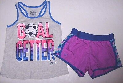 JUSTICE Girls size 10 GOAL GETTER SOCCER TANK TOP SHORTS OUTFIT EUC