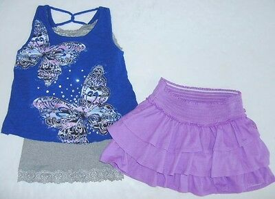 JUSTICE Girls size 12 10 CAMI BUTTERFLY TANK TOP LAYERED SKORT OUTFIT EUC