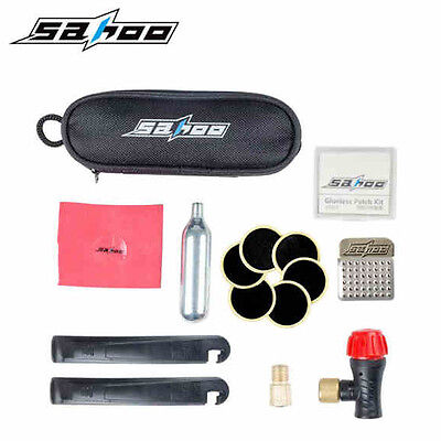 Cycling Bicycle Bike Tyre Tire Puncture Repair Tool Kit Glue Free CO2 Cylinder