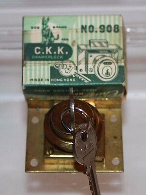 New in Box! Vintage C.K.K. Chu Kam Key Drawer Lock 2 Keys No. 908 Hong Kong