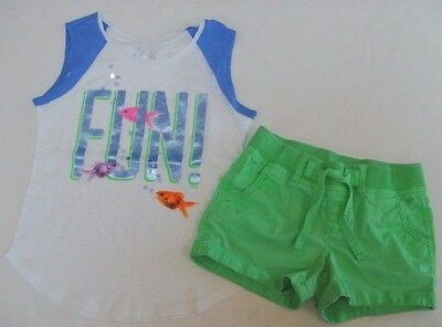 JUSTICE Girls size 12 GOLD FISH TANK TOP JEAN SHORTS OUTFIT NEW EUC