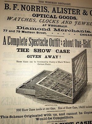 Norris Optical Watches Diamonds Chicago Illustrated 1880's Ad Display Cabinet
