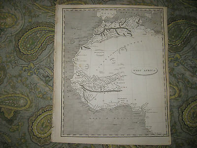 Early Antique 1805 West Africa Arrowsmith & Lewis Copperplate Map Barbary Coast