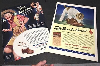 Lot Of 2 Shoe Red Goose W Dog Weather Bird  Buckaroos Cowgirl 1940s  Ad Sign