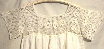 ANTIQUE SLEEPING GOWN with HAND CROCHET FILET BODICE - SIZE LARGE