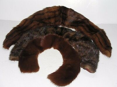 3 Vintage Genuine Mink Fur Collars For Jackets Coats And Sweaters