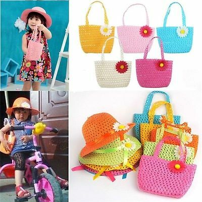 Baby Girl Child Beach Sun Hat Straw Flower Bucket Hat Summer Cap+Handbag Suit