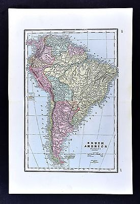 1891 Watson Atlas Map - South America Brazil Rio de Janiero Peru Argentina Chile