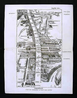 1886 London Bird's Eye View Map - Piccadilly - Regent Circle to Hyde Park Corner