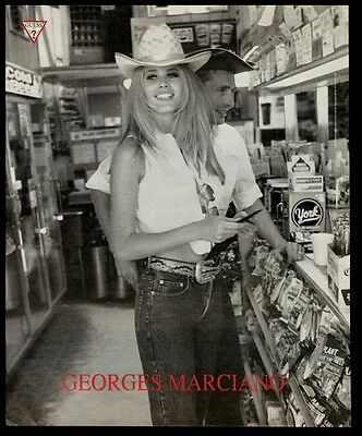 1992 girl in cowboy hat photo Guess Jeans vintage print ad