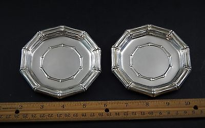 """Vintage PAIR Tiifany & Co Faux Bois Sterling Silver Bamboo 4"""" Dishes  No Monos"""