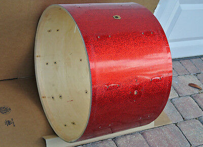 "1960 LUDWIG CLASSIC SERIES 22"" RED SPARKLE BASS DRUM SHELL for YOUR SET! #V503"
