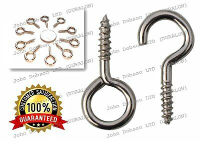 Curtain Hook x 10 And Eye x 10 Chrome Suitable For Voile Net Curtain Wire Hooks