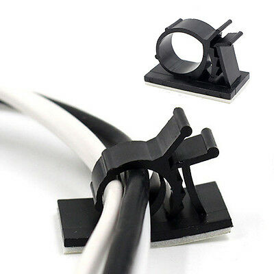 10Pcs Car Drop Adhesive Clamp Wire Cord Clip Cable Holder Tie Adjustable
