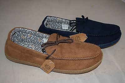 Mens Adults Lightweight Luxury Moccasins Slippers Navy Brown New Size 8-12
